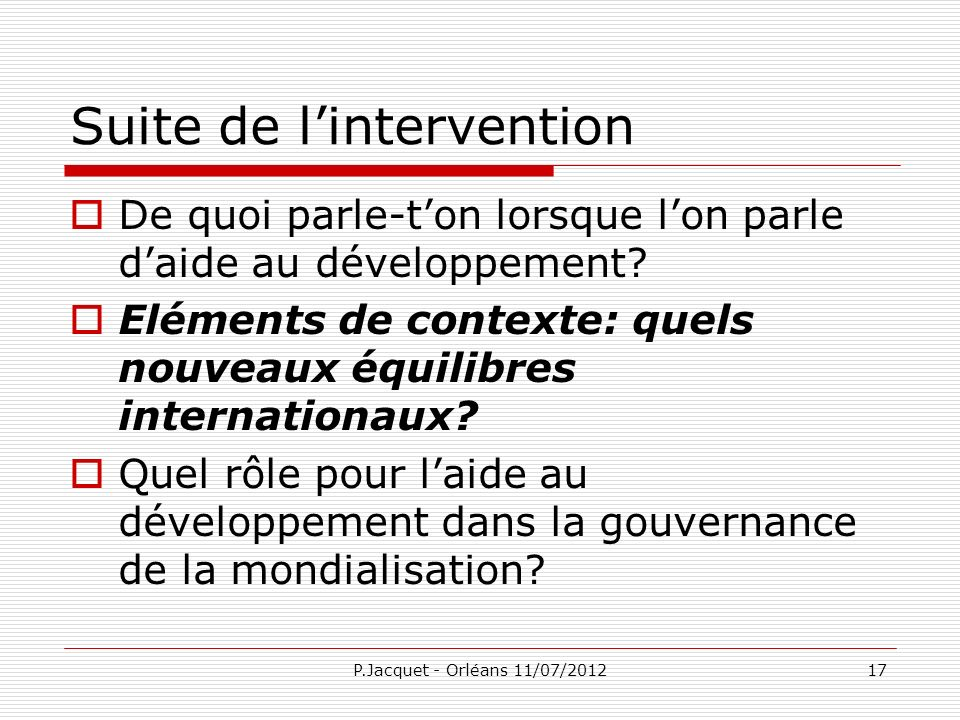 Suite de l'intervention