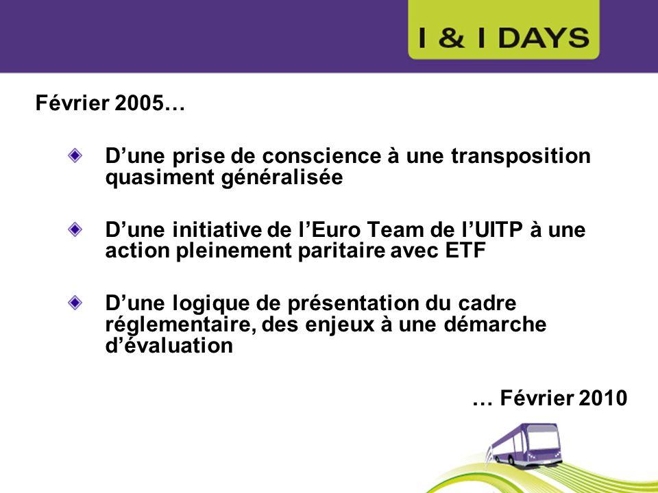 Février 2005…D'une prise de conscience à une transposition quasiment généralisée.