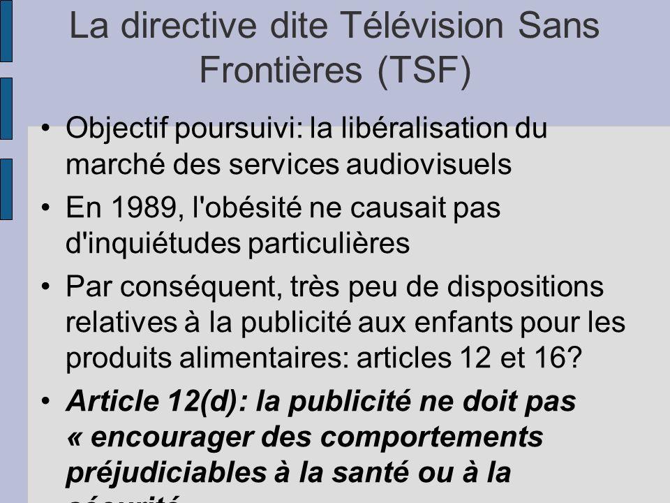 La directive dite Télévision Sans Frontières (TSF)