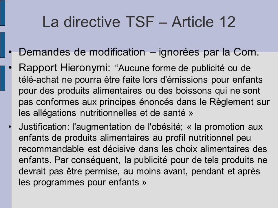 La directive TSF – Article 12