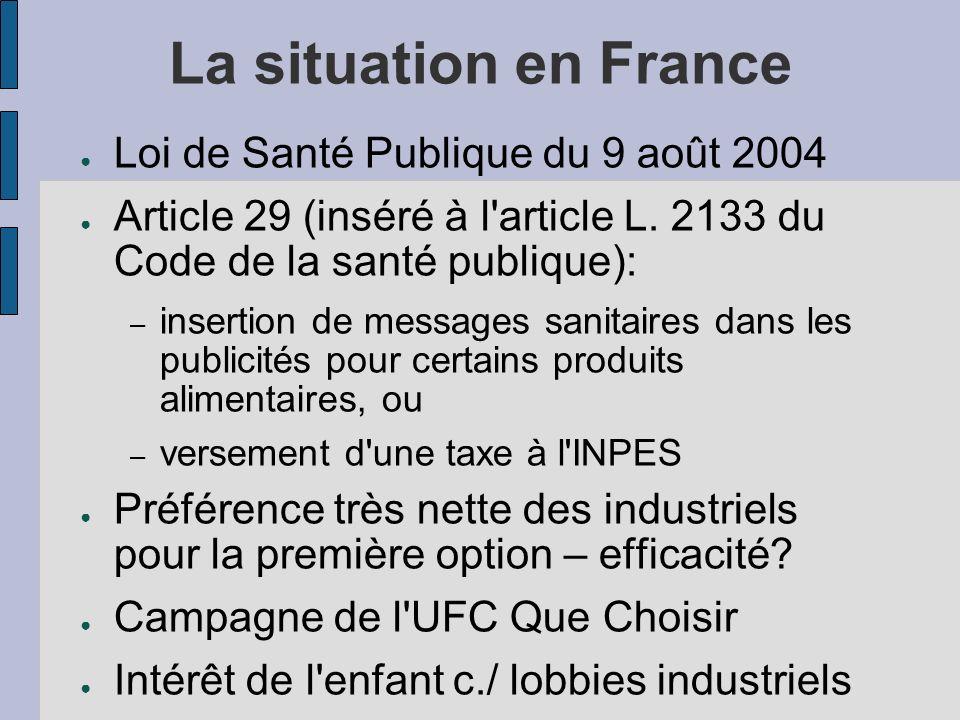 La situation en France Loi de Santé Publique du 9 août 2004