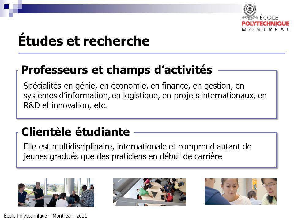 Études et recherche Professeurs et champs d'activités