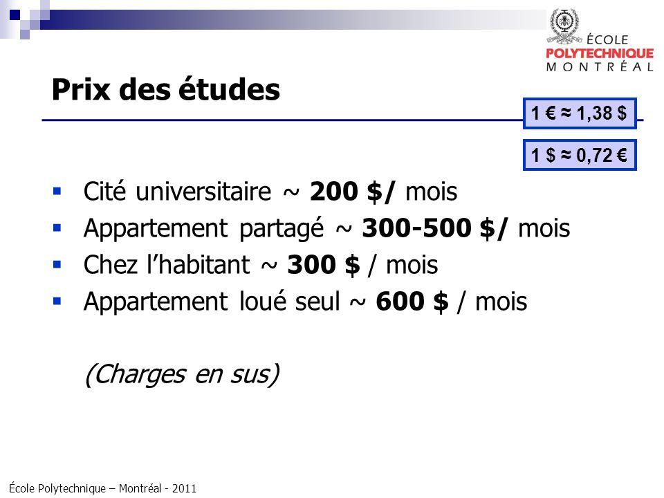 Prix des études Cité universitaire ~ 200 $/ mois