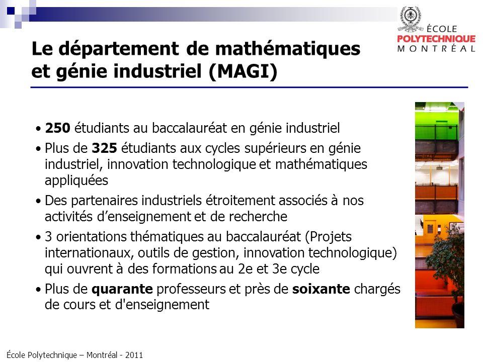 Le département de mathématiques et génie industriel (MAGI)