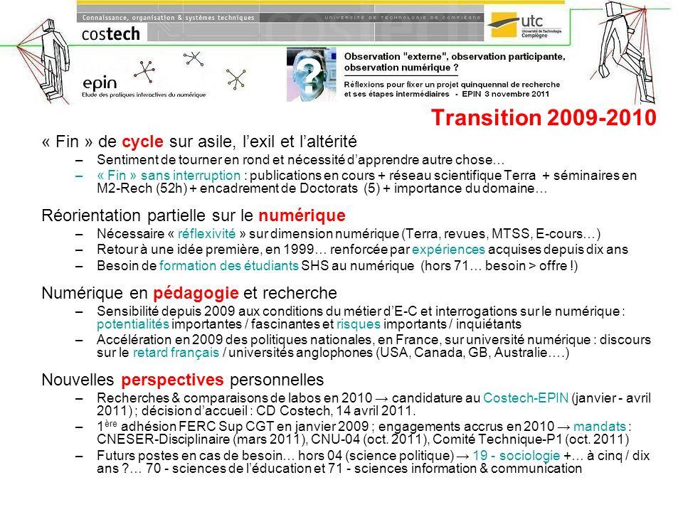 Transition 2009-2010 « Fin » de cycle sur asile, l'exil et l'altérité