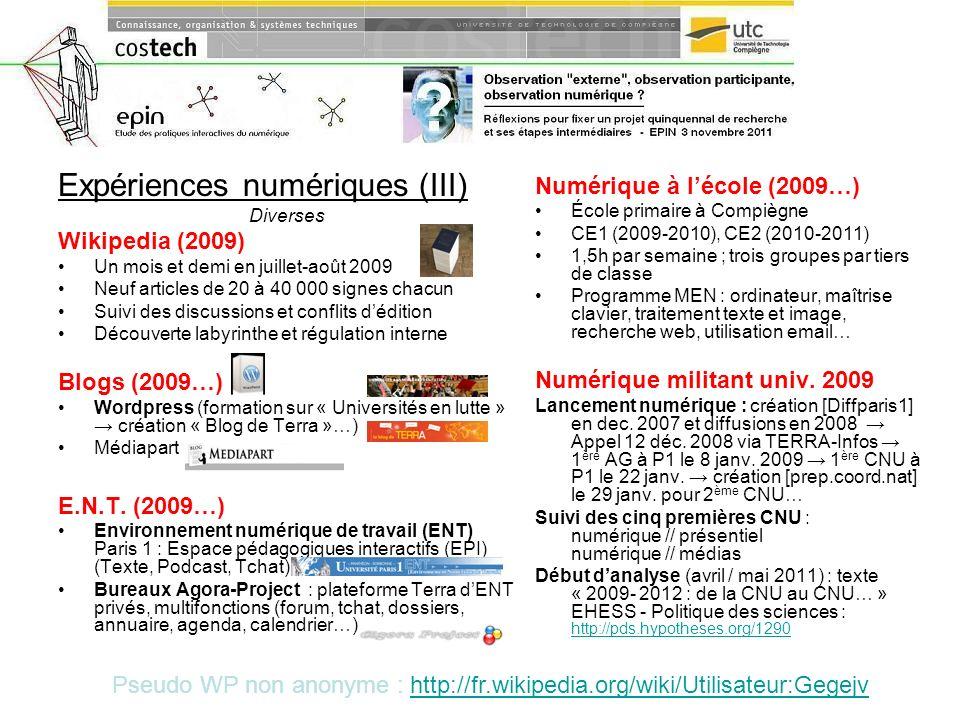 Expériences numériques (III)