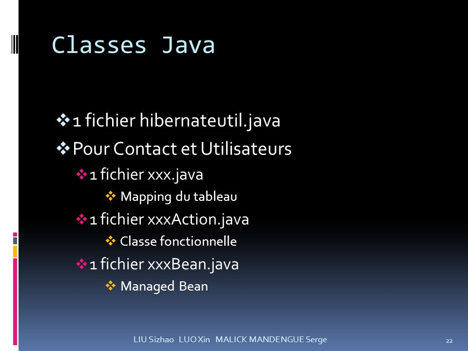 Classes Java 1 fichier hibernateutil.java Pour Contact et Utilisateurs