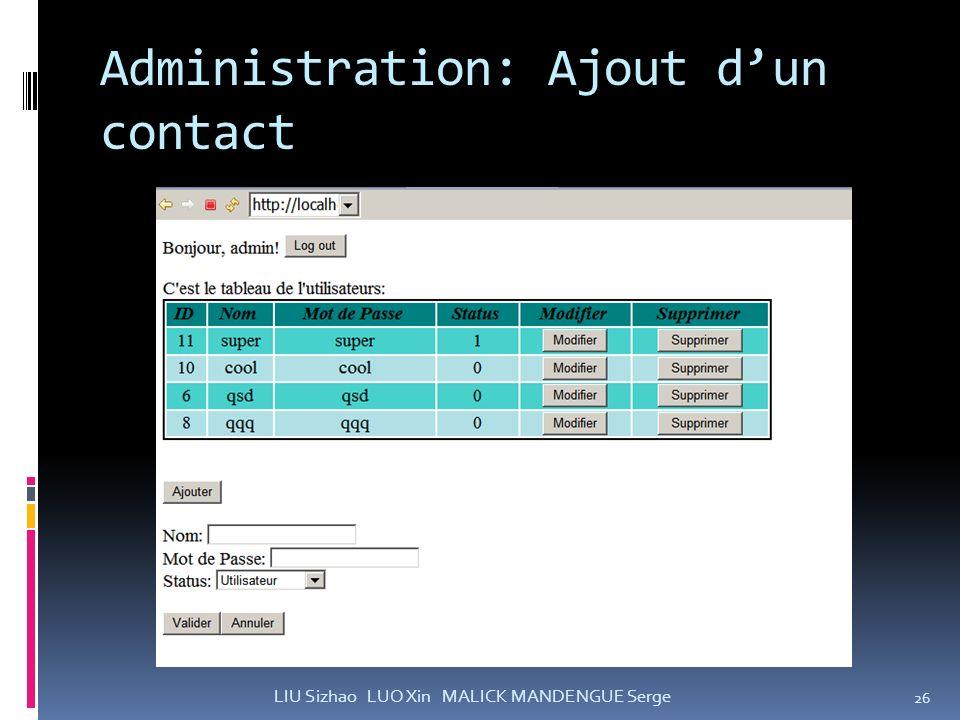 Administration: Ajout d'un contact