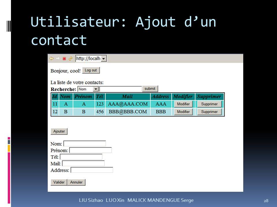 Utilisateur: Ajout d'un contact