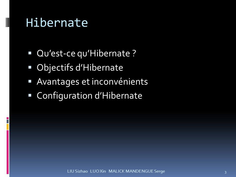 Hibernate Qu'est-ce qu'Hibernate Objectifs d'Hibernate