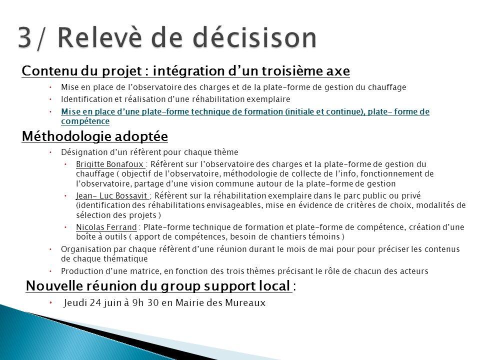 3/ Relevè de décisison Contenu du projet : intégration d'un troisième axe.