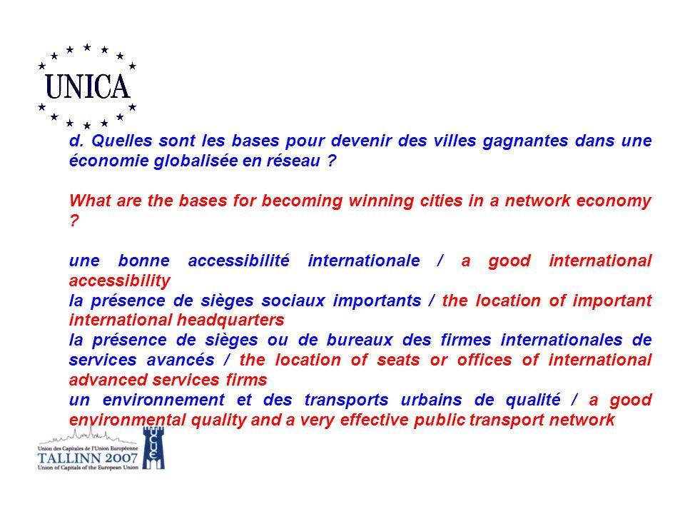 d. Quelles sont les bases pour devenir des villes gagnantes dans une économie globalisée en réseau
