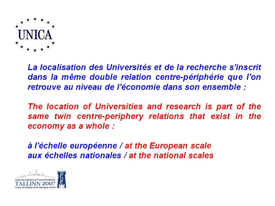 La localisation des Universités et de la recherche s inscrit dans la même double relation centre-périphérie que l on retrouve au niveau de l économie dans son ensemble :