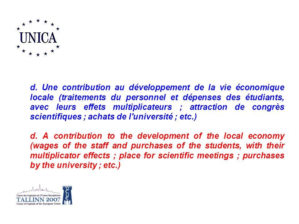 d. Une contribution au développement de la vie économique locale (traitements du personnel et dépenses des étudiants, avec leurs effets multiplicateurs ; attraction de congrès scientifiques ; achats de l université ; etc.)