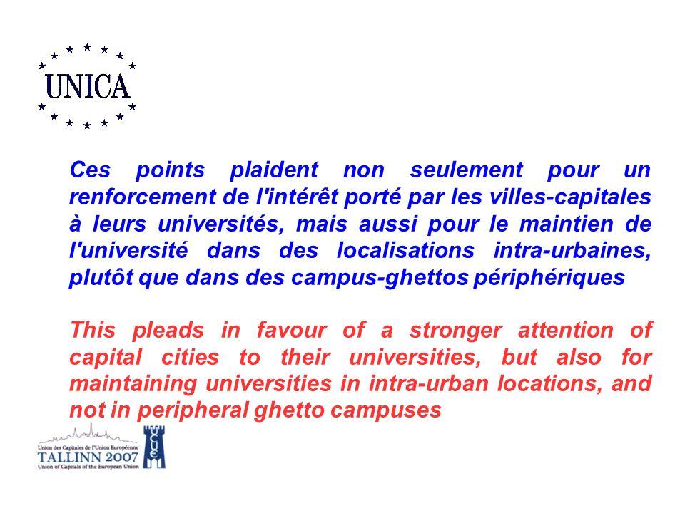 Ces points plaident non seulement pour un renforcement de l intérêt porté par les villes-capitales à leurs universités, mais aussi pour le maintien de l université dans des localisations intra-urbaines, plutôt que dans des campus-ghettos périphériques