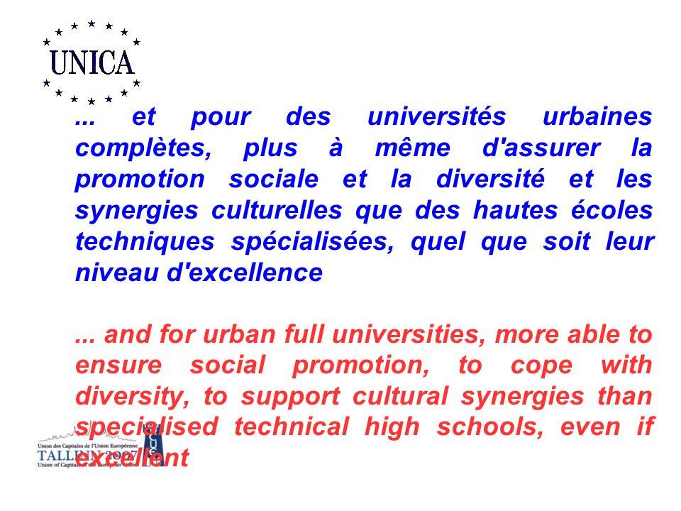 ... et pour des universités urbaines complètes, plus à même d assurer la promotion sociale et la diversité et les synergies culturelles que des hautes écoles techniques spécialisées, quel que soit leur niveau d excellence