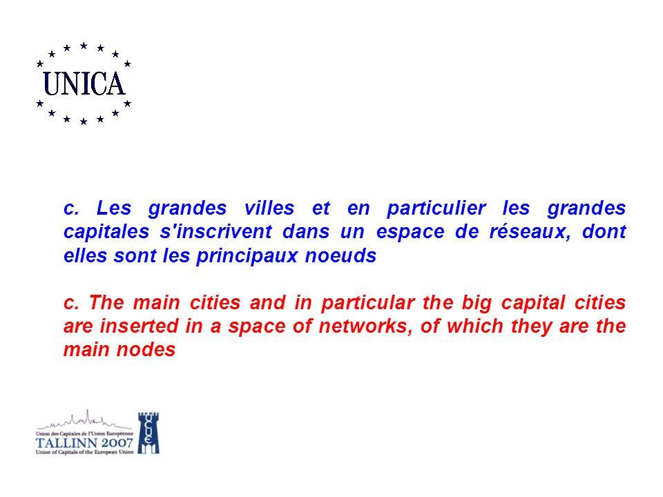 c. Les grandes villes et en particulier les grandes capitales s inscrivent dans un espace de réseaux, dont elles sont les principaux noeuds