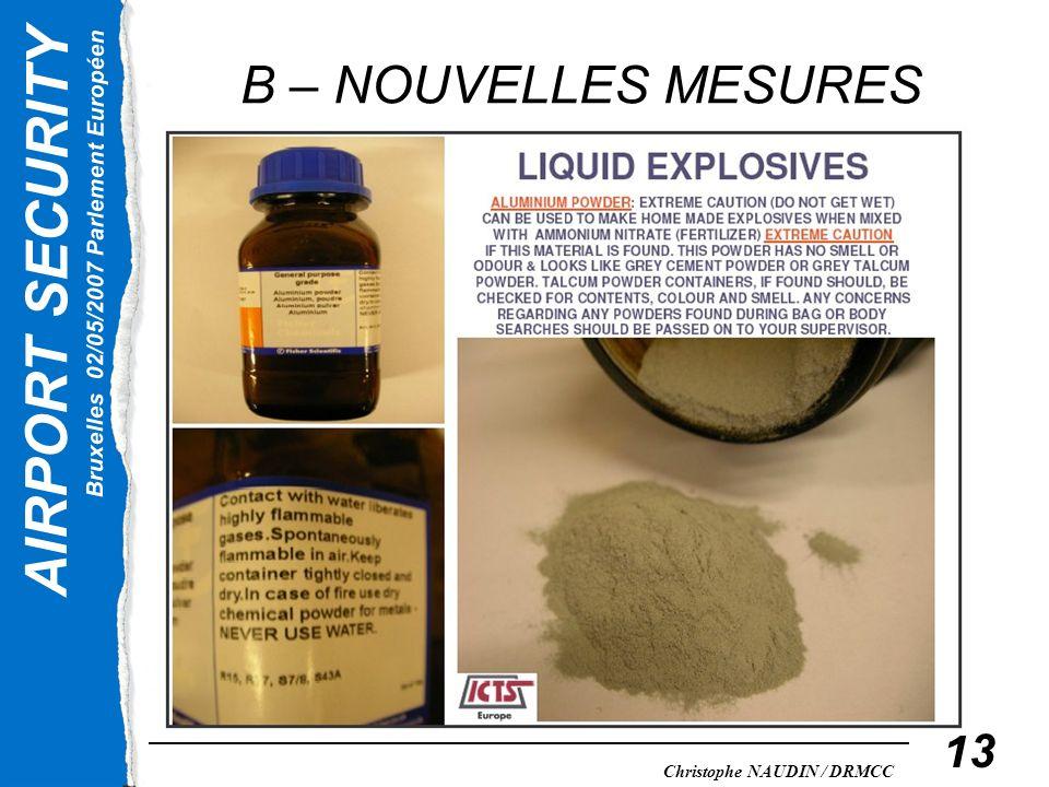 B – NOUVELLES MESURES La poudre d'alumine, fortement explosive, est-elle considérée comme liquide
