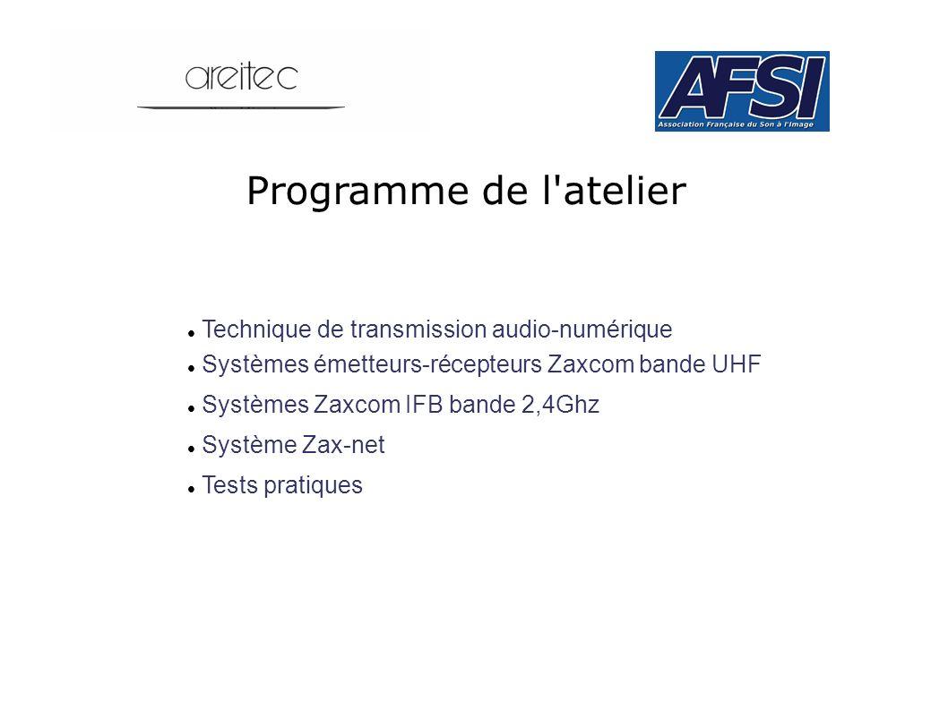 Programme de l atelier Technique de transmission audio-numérique