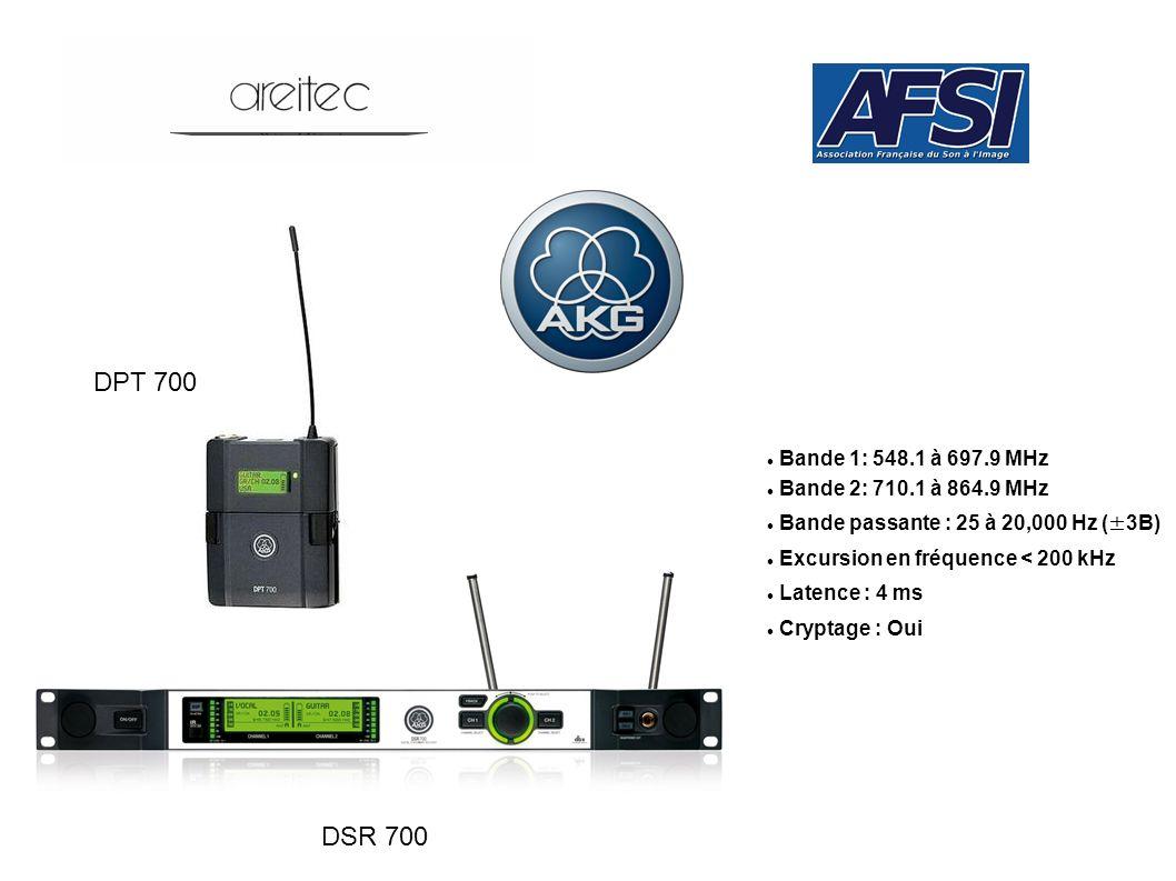DPT 700 DSR 700 Bande 1: 548.1 à 697.9 MHz Bande 2: 710.1 à 864.9 MHz