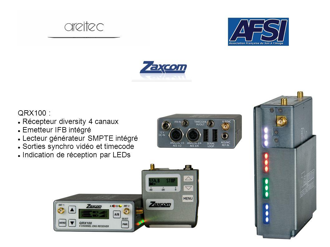 QRX100 : Récepteur diversity 4 canaux. Emetteur IFB intégré. Lecteur générateur SMPTE intégré. Sorties synchro vidéo et timecode.