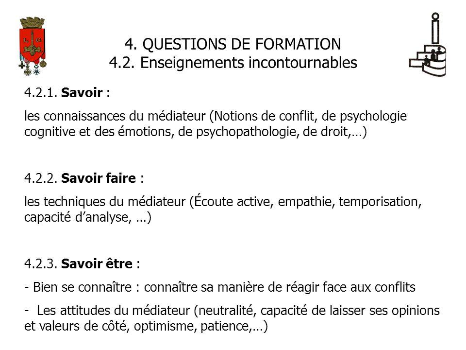 4. QUESTIONS DE FORMATION 4.2. Enseignements incontournables