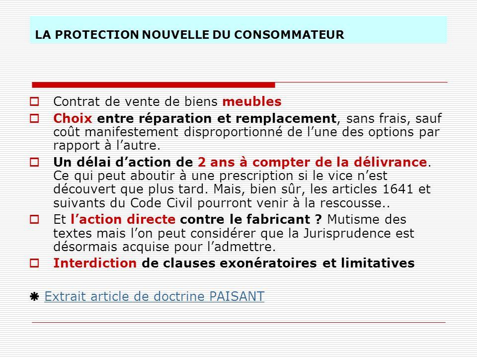 LA PROTECTION NOUVELLE DU CONSOMMATEUR