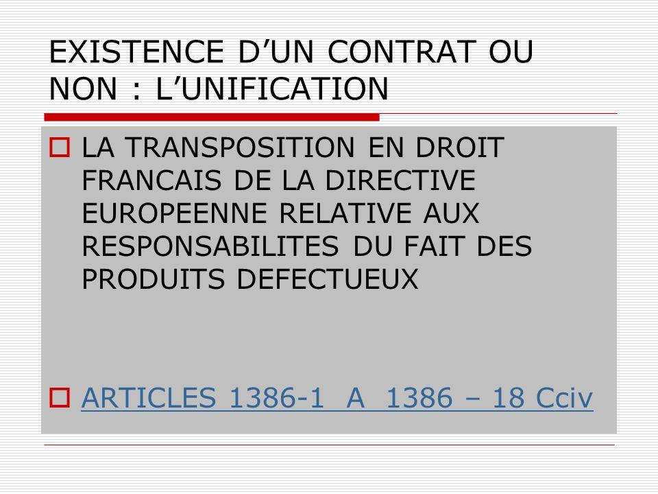 EXISTENCE D'UN CONTRAT OU NON : L'UNIFICATION