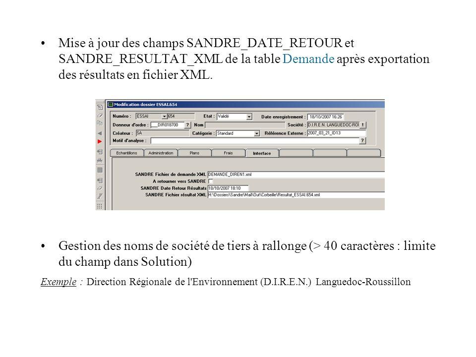 Mise à jour des champs SANDRE_DATE_RETOUR et SANDRE_RESULTAT_XML de la table Demande après exportation des résultats en fichier XML.