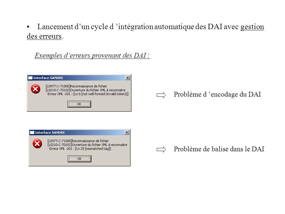 Exemples d'erreurs provenant des DAI :