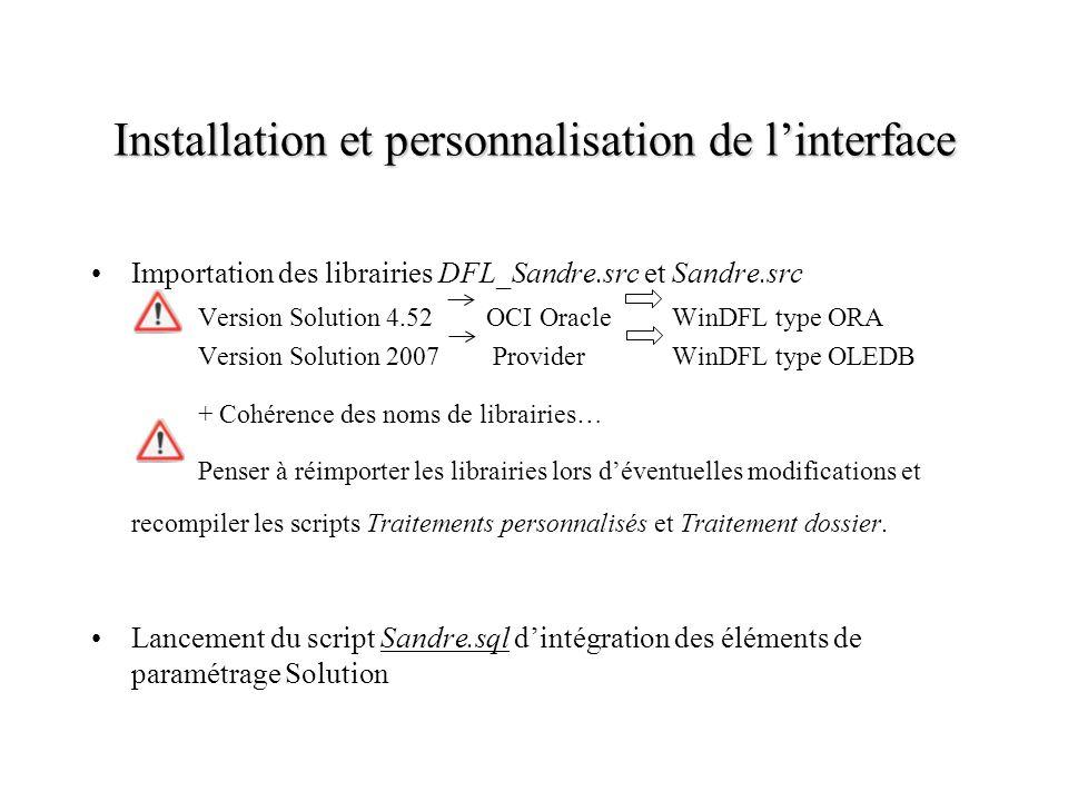 Installation et personnalisation de l'interface