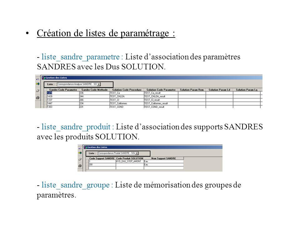 Création de listes de paramétrage :