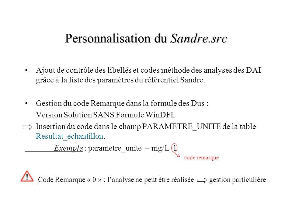 Personnalisation du Sandre.src