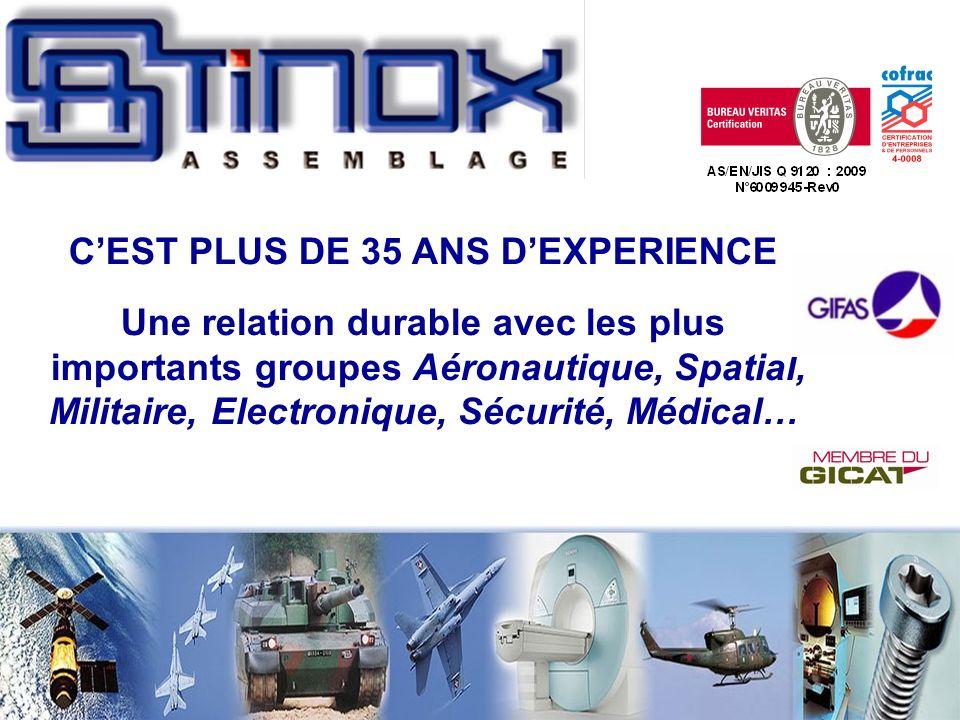 C'EST PLUS DE 35 ANS D'EXPERIENCE Une relation durable avec les plus importants groupes Aéronautique, Spatial, Militaire, Electronique, Sécurité, Médical…