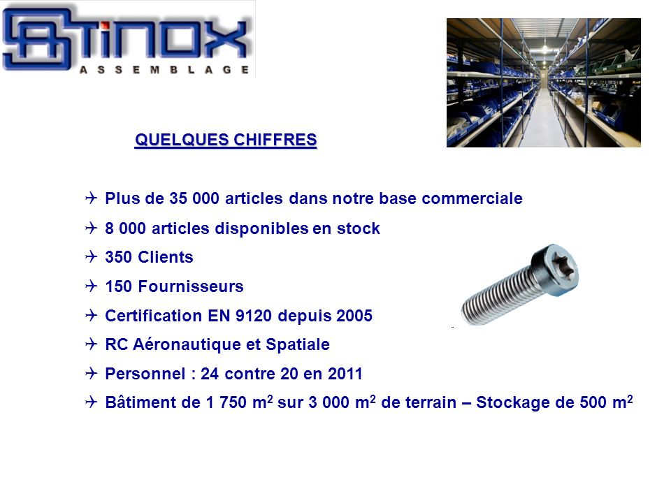QUELQUES CHIFFRESPlus de 35 000 articles dans notre base commerciale. 8 000 articles disponibles en stock.