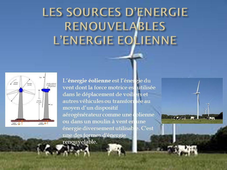 LES SOURCES D'ENERGIE RENOUVELABLES L'ENERGIE EOLIENNE