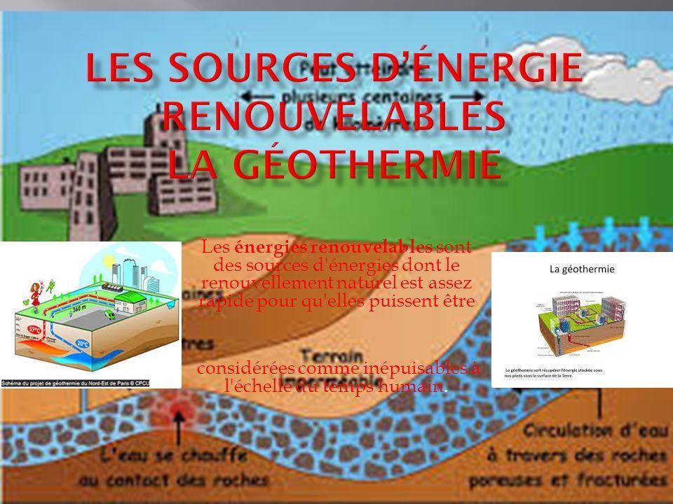 Les sources d'énergie renouvelables la géothermie