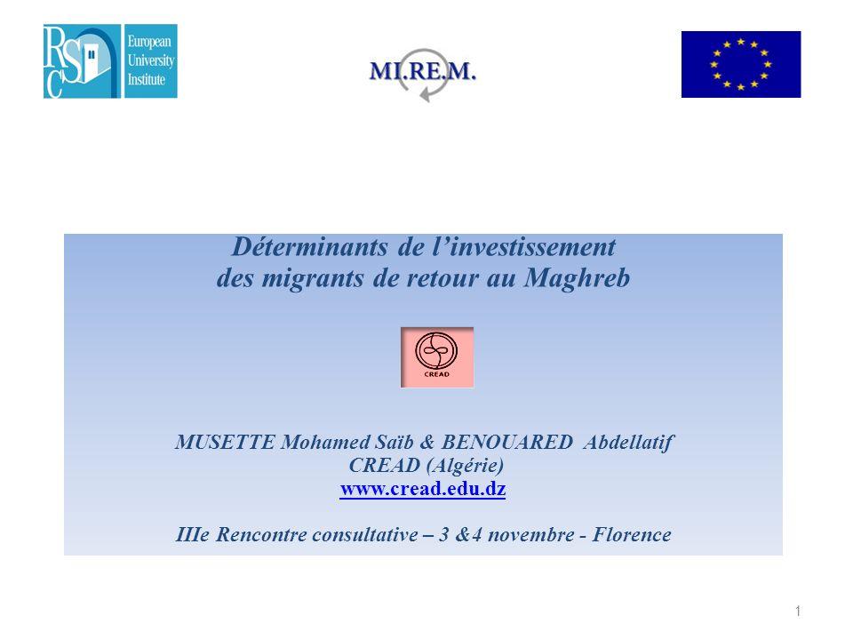 Déterminants de l'investissement des migrants de retour au Maghreb