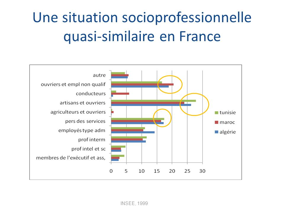 Une situation socioprofessionnelle quasi-similaire en France