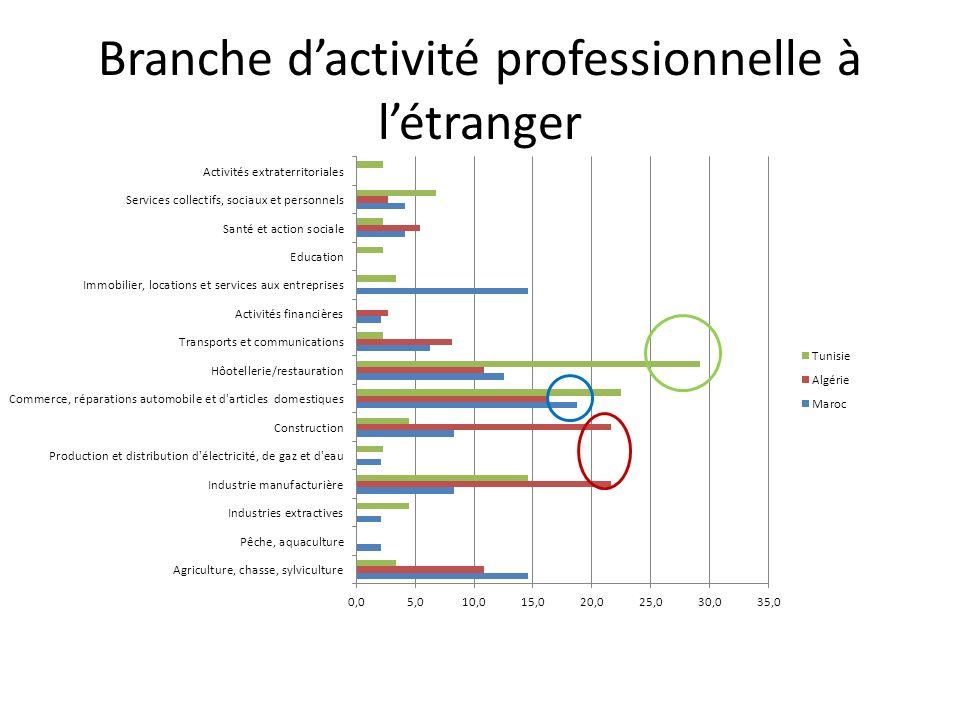 Branche d'activité professionnelle à l'étranger