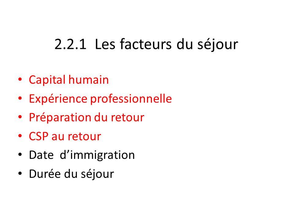 2.2.1 Les facteurs du séjour Capital humain Expérience professionnelle