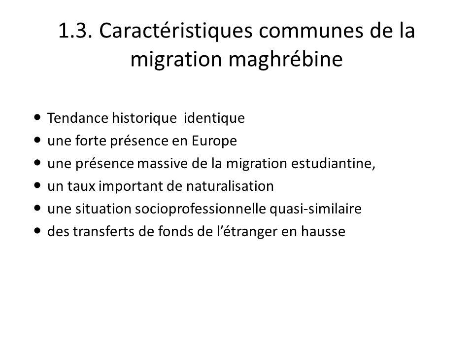 1.3. Caractéristiques communes de la migration maghrébine