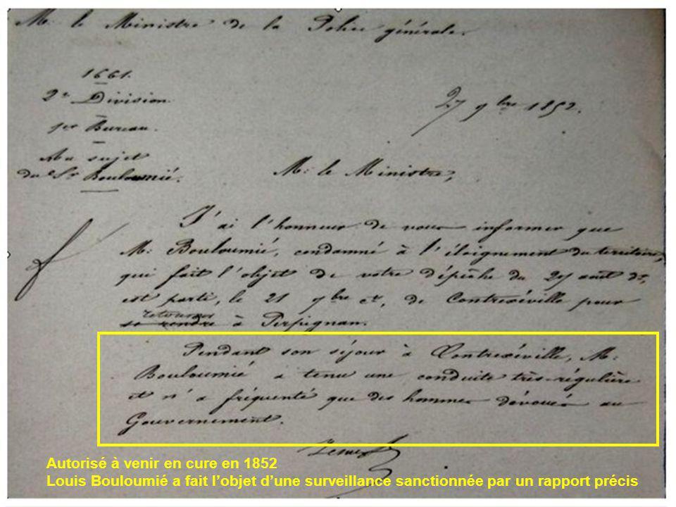 Autorisé à venir en cure en 1852