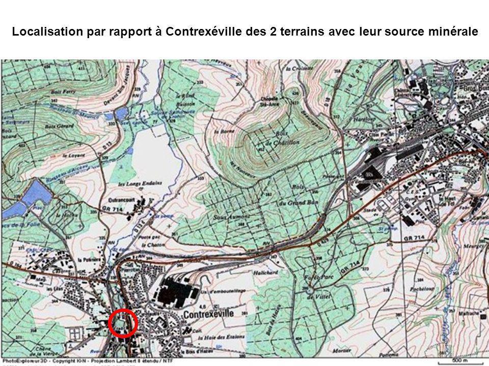 Localisation par rapport à Contrexéville des 2 terrains avec leur source minérale