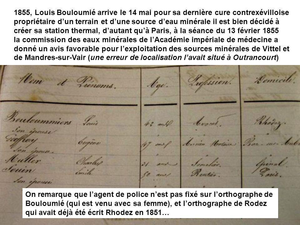 1855, Louis Bouloumié arrive le 14 mai pour sa dernière cure contrexévilloise