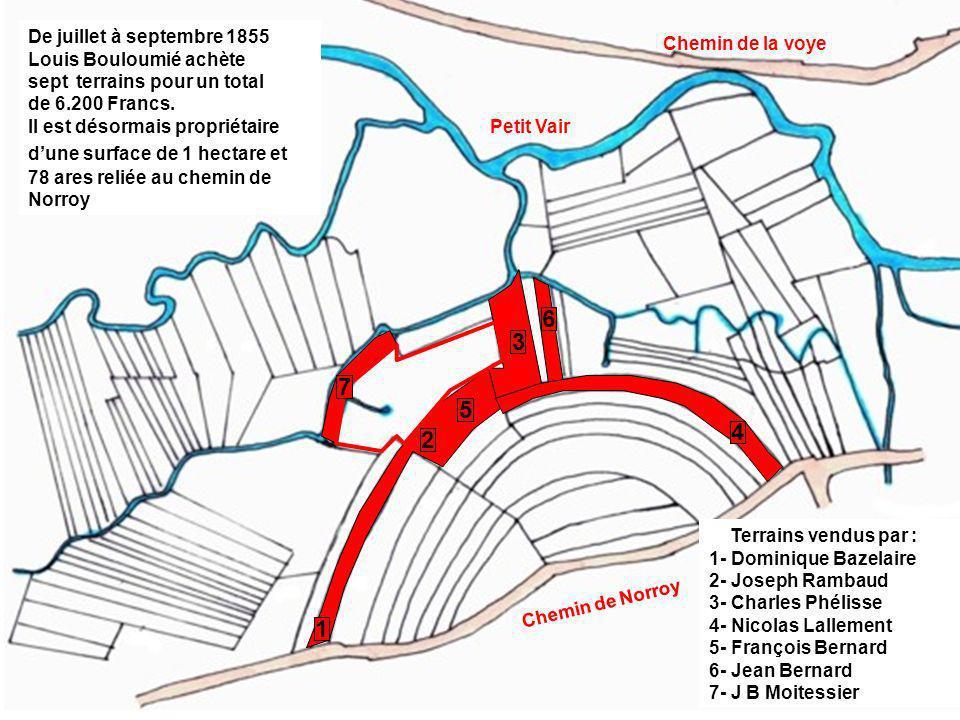6 3 7 5 4 2 1 De juillet à septembre 1855 Louis Bouloumié achète