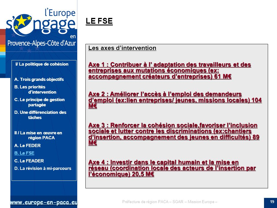 LE FSE Les axes d'intervention