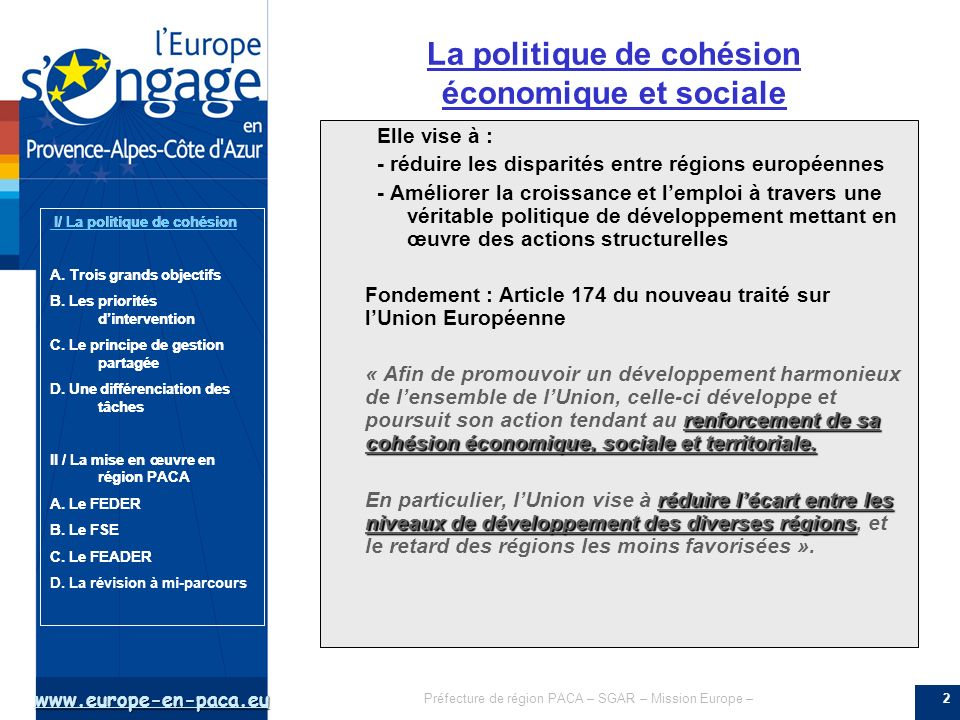 La politique de cohésion économique et sociale