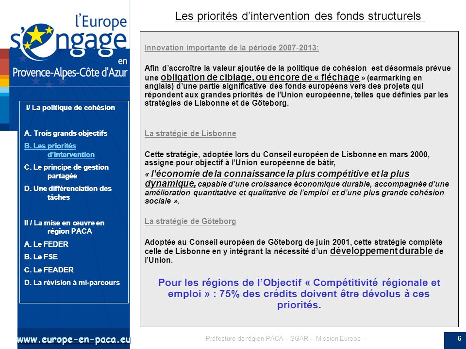 Les priorités d'intervention des fonds structurels