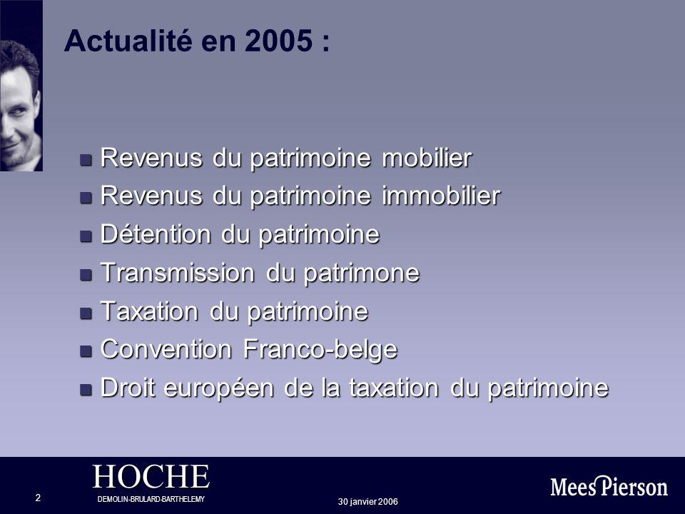 Actualité en 2005 : Revenus du patrimoine mobilier